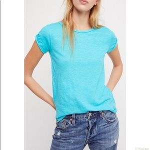 """FREE PEOPLE """"Clare"""" tee, turquoise,xs"""